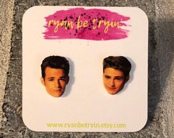 8407f85975d 90210 Earrings - Brandon and Dylan - Stud Earrings - Celebrity Face  Earrings - 90s Earrings - Pop Culture Gifts - 90210 Jewerly - Fun Gifts