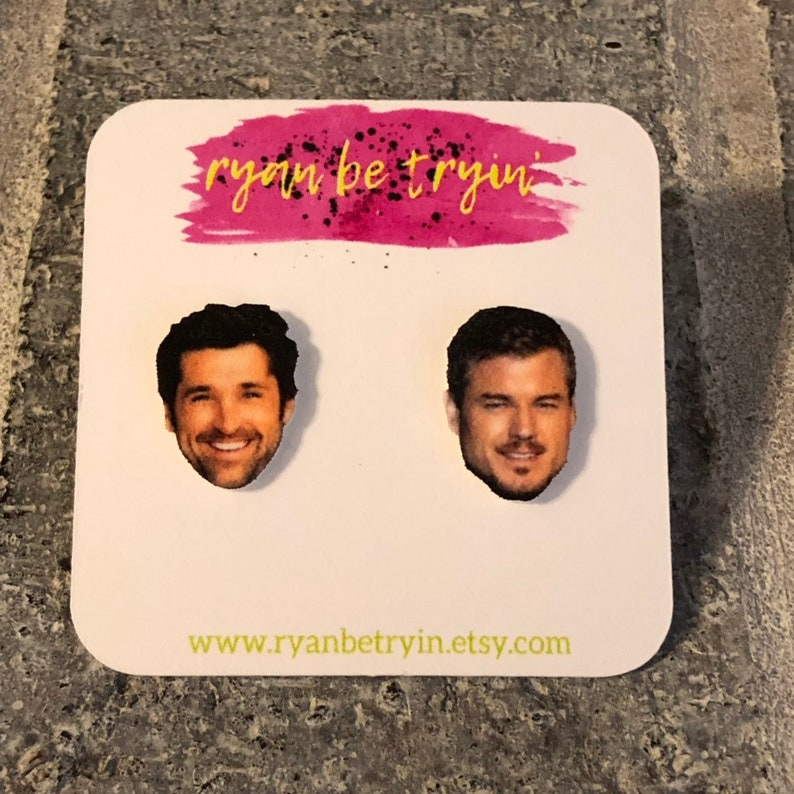 Greys Anatomy Earrings Mcdreamy And Mcsteamy Patrick Dempsey Stud Earrings Celebrity Face Earrings Eric Dane Gifts For Her