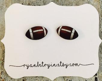 Football Earrings - Super Bowl Earrings - Football Season - Football Gift - Football Jewelry - Quirky Earrings - Football Fan Stud Earrings