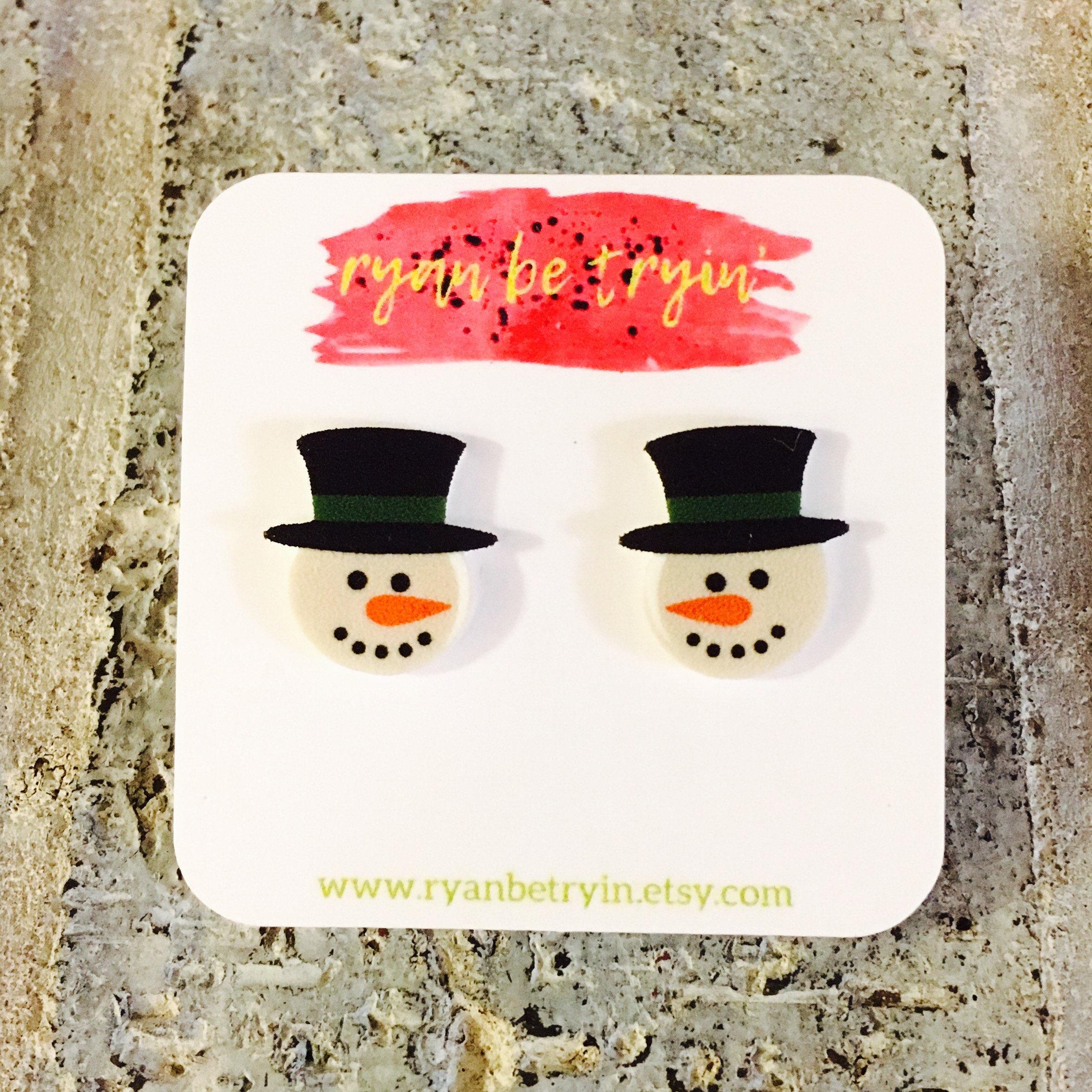Christmas Earrings Snowman Earrings Christmas Accessories | Etsy