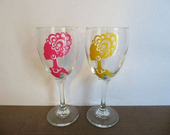 Woman Silhouette Wine Glass
