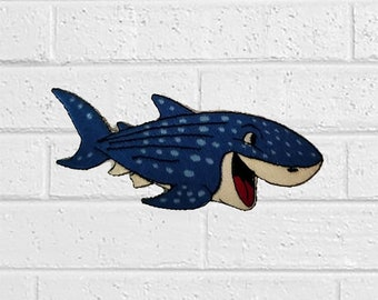 d8b0c88b6d43c Blue Shark Cartoon Patch - Animal Patch - Iron On Patches - Patches for  Jackets