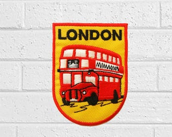 London Double Decker Bus Patch - Vehicle Patch - Iron On Patches - Patches for Jackets, Jeans , Cap - Cool Badge Size 5 cm (W) x 6.7 cm (H)