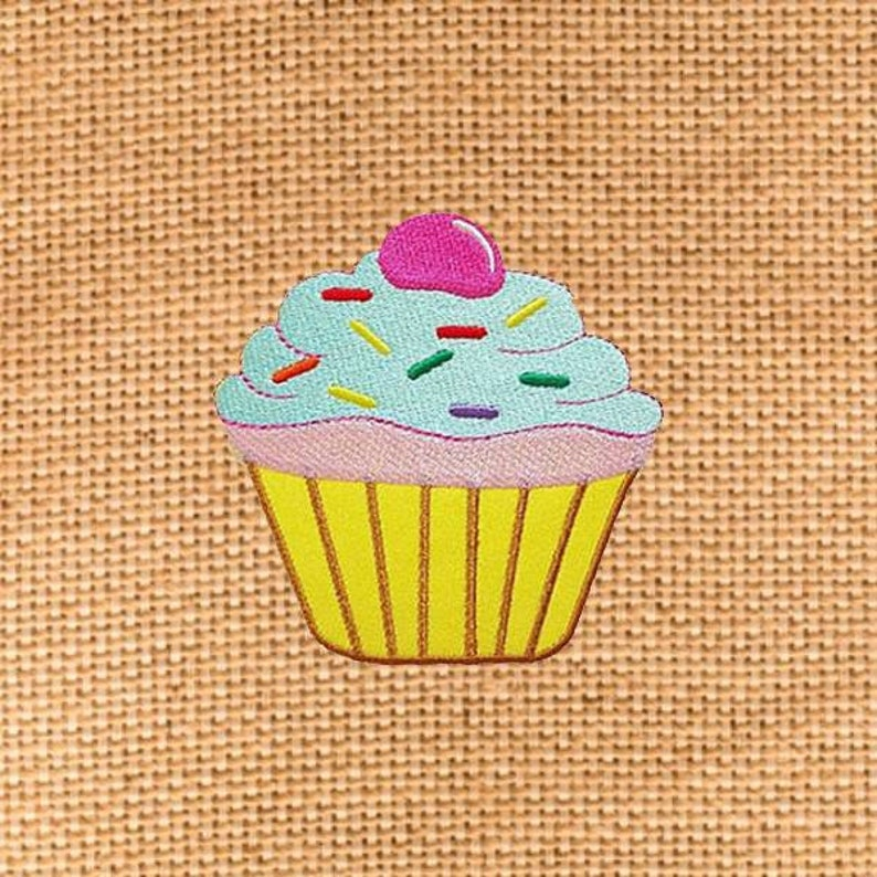 Green Mint Cupcake Cake Dessert Patch Iron On Patches Patches for Jackets Cap x 3.1 Jeans Cool Badge Size 3.1 H W