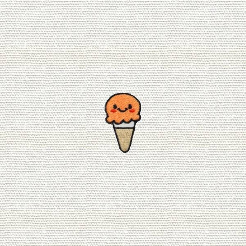 Jeans Mini Small Orange Ice Cream Patch Iron On Patches W H x 3.2cm Sweet Patch Cool Badge Size 1.9 cm Patches for Jacket Cap