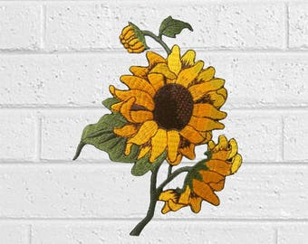 "Sunflower Patch -Flower Patch - Iron On Patches - Patches for Jackets, Jeans , Cap - Cool Badge Size 3.5"" (W) x 4.7"" (H)"