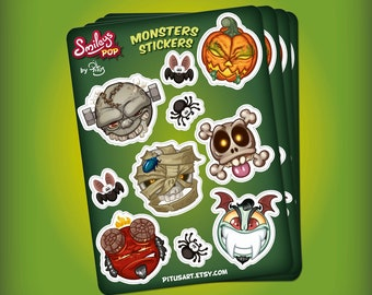 Plank stickers of cartoon smiley monsters for phone tablet car motorcycle computer furniture