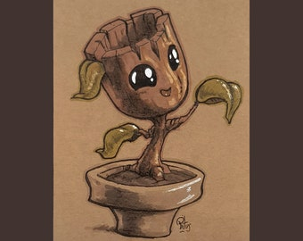 Original Design Cute Plant with Markers on Kraft Paper