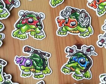 Set of 4 stickers mini ninja turtles