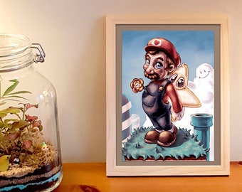 Printed illustration of Mario character video games for interior decoration