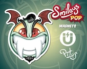 Vampire cartoon smiley magnet for refrigerator table car metal surfaces
