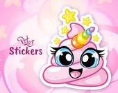 Sticker unicorn emoji cute pink dropping kawaii emoji for phone tablet car motorcycle computer furniture