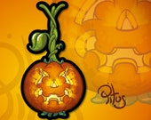 Cartoon pumpkin sticker suspended for phone tablet car motorcycle computer furniture