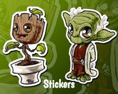 Cute mini Groot and mini Yoda stickers for phone tablet computer furniture