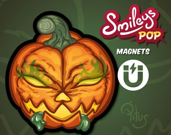 Cartoon smiley pumpkin magnet for refrigerator table car metal surfaces