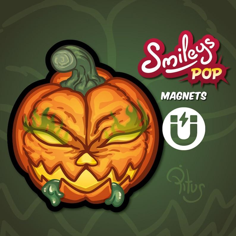 Cartoon smiley pumpkin magnet for refrigerator table car metal image 1