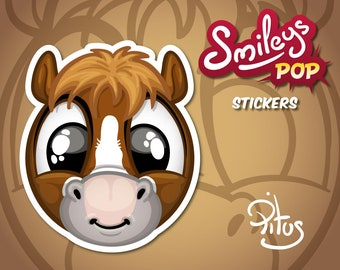 Cartoon smiley pony sticker for phone tablet car motorcycle computer furniture