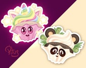Stickers cupcake unicorn and cute panda for phone tablet computer furniture