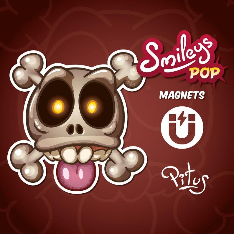 Cartoon skull smiley magnet for refrigerator table car metal image 0