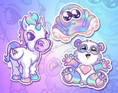 Holographic stickers unicorn panda octopus for tablet phone laptop