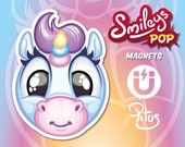 Unicorn magnet smiley cartoon for refrigerator table car metal surfaces
