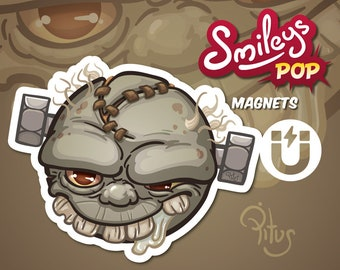 Zombie cartoon smiley magnet for refrigerator table car metal surfaces
