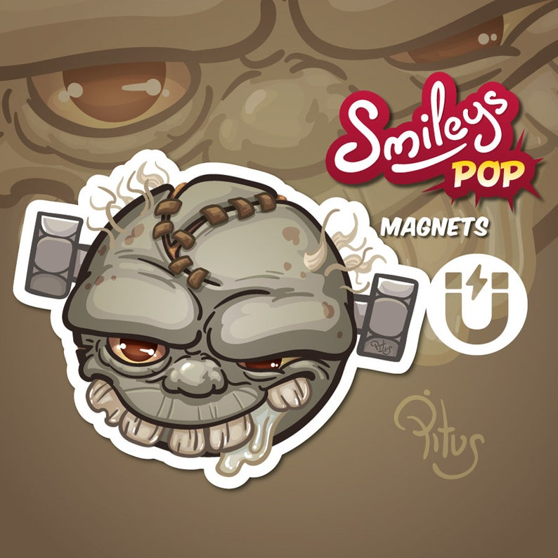Zombie cartoon smiley magnet for refrigerator table car metal image 1
