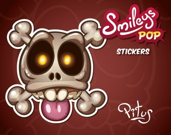 Cartoon smiley skull sticker for phone tablet car motorcycle computer furniture