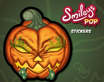 Smiley pumpkin sticker to decorate phone tablet car motorcycle computer furniture