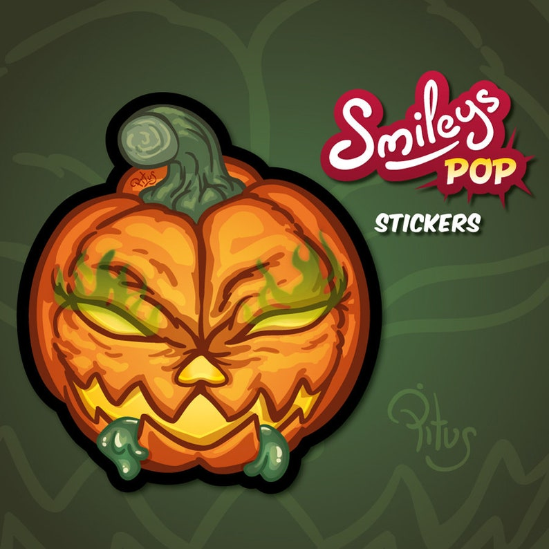 Smiley pumpkin sticker to decorate phone tablet car motorcycle image 1