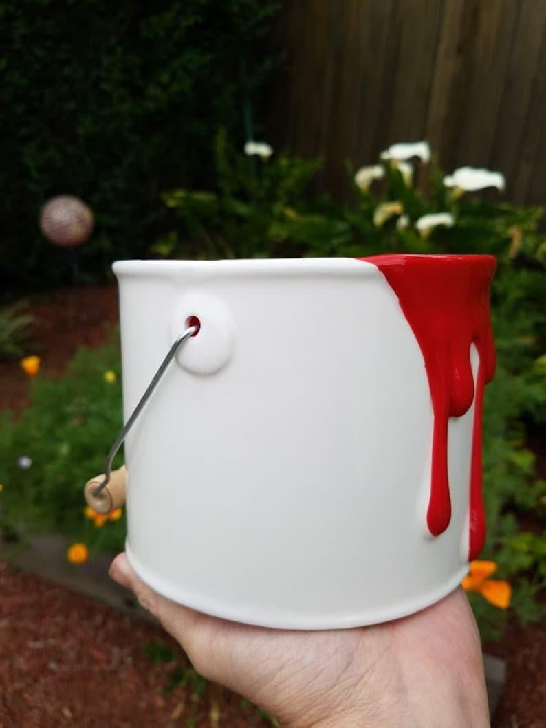 Red Dripping Paint Can Succulent Planter w Drainage Hole-Paint Can Planter-Colorful Planter-Planter Drainage-Unique Plant Pot-Garden Decor