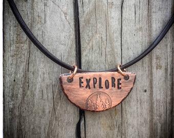 Explore Necklace, Explore Pendant, Pine Tree Pendant, Pine Tree Necklace, Etched Pendant Necklace, Adventure Necklace, Nature Necklace