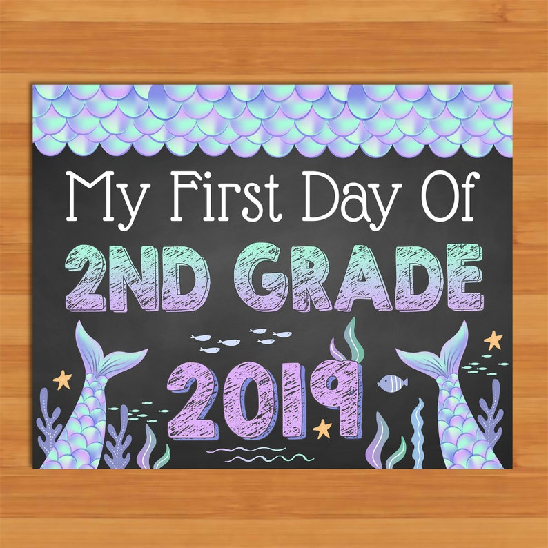 photograph relating to First Day of 2nd Grade Printable Sign named Mermaid Initial Working day of 2nd Quality Indicator Chalkboard - Printable Back again in the direction of Higher education Signal - Cl of 2019 Signal - Mermaid Women 1st Working day Signal - 100968