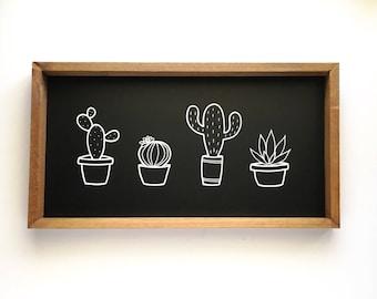 Four Cactus Wood Framed Sign