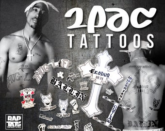 f36cd905fe7db 2Pac Temp Tattoo Replicas • OVER 30 TATTOOS - Baller Collection • Rapper  Thug, Costume • Gift for Teen, Cool Costume for Adults, Fake Tattoo