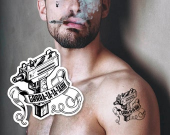 4da69dea1 Post Malone Tattoo - Rockstar Uzi • Gun, Thug Temporary Tattoo, Gifts for  Teens, Cool Gift Adults, Cool Costume, Fake Tattoo, Gifts for Boys
