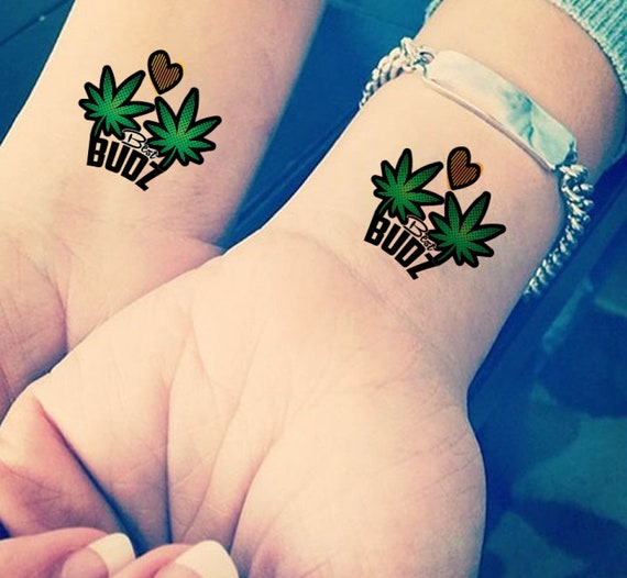 Best Budz Weed Pot Tattoo Set Of Two Hip Hop Temporary Tattoo Gifts For Teens Cool Gifts Friend 2018 Fashion Trend Fake Tattoo