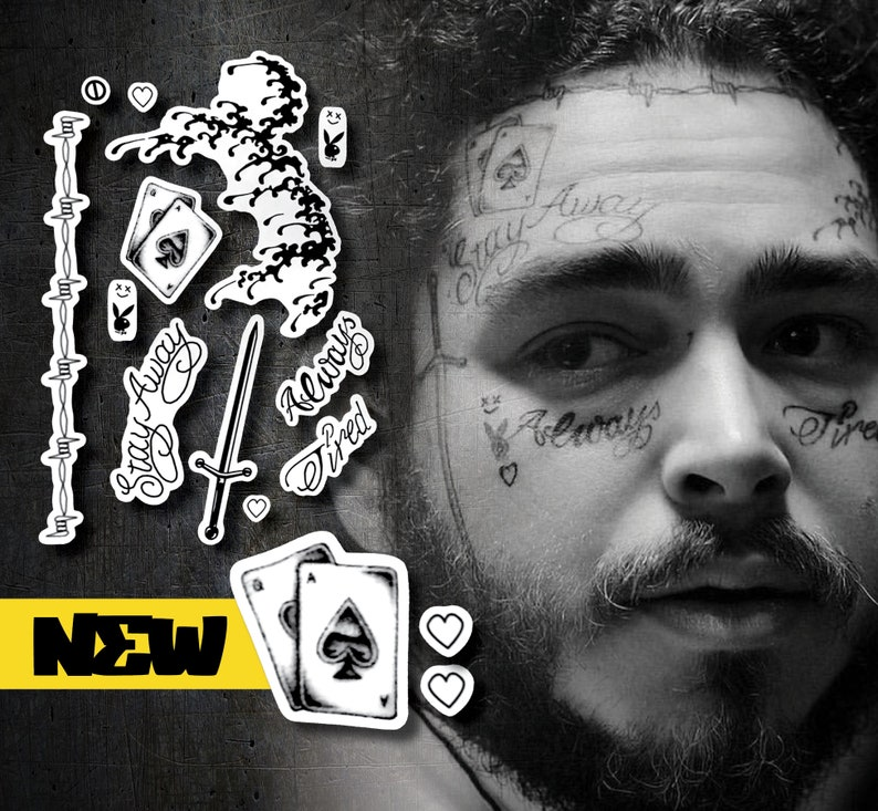 Post Malone Drawing: Post Malone Tattoo Replicas With NEW Playing Cards Tat