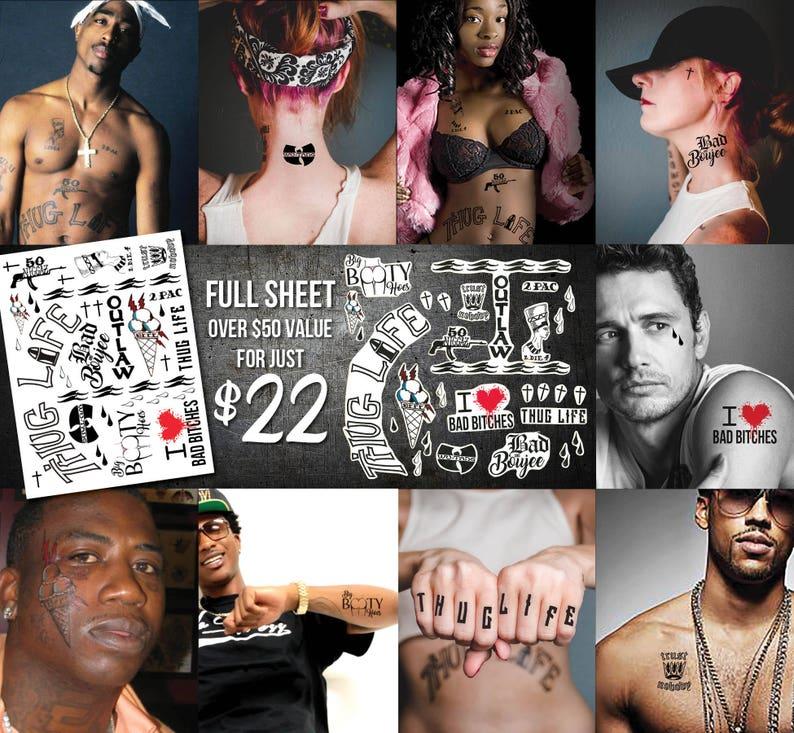 35 Rap Tatuaże Pełny Arkusz Tatuaże Hip Hop Kostium Rapera Prezenty Dla Teen Boy Fajny Prezent Dla Dorosłych Trend Mody 2pac Gucci Mane