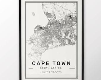 Cape Town City Map Poster Imprimé moderne et contemporain villes voyage IKEA cadres