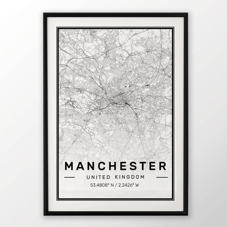 Manchester City Mapa Print Nowoczesny Plakat W Rozmiarach 50x70 Pasuje Do Ramy Ikea 195 X 275 Wszystkie Miasta Dostępne Londyn New York Paris