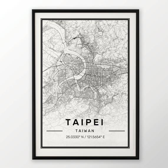 Taipei City Mapa Print Nowoczesny Plakat W Rozmiarach 50x70 Pasuje Do Ramy Ikea 195 X 275 Wszystkie Miasta Dostępne Londyn Nowy Jork Paryż