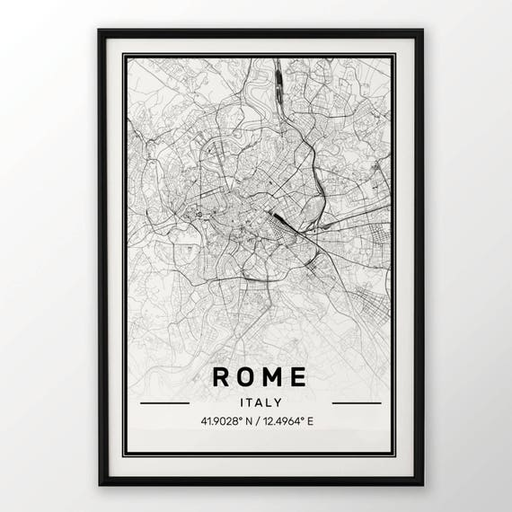 Rome City Map Print Modern Contemporary Poster In Sizes