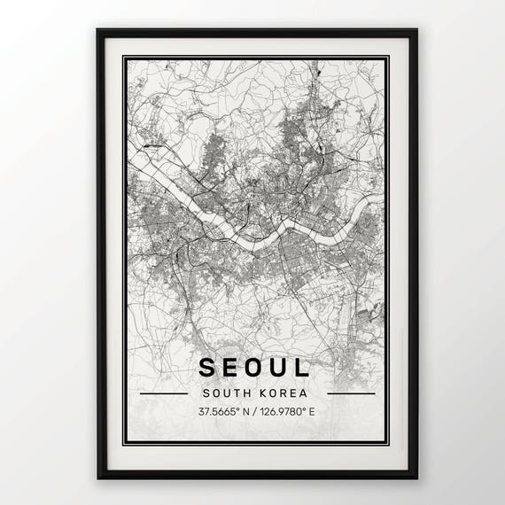 Seoul City Map Print Modern Contemporary poster in sizes 50x70 | Etsy