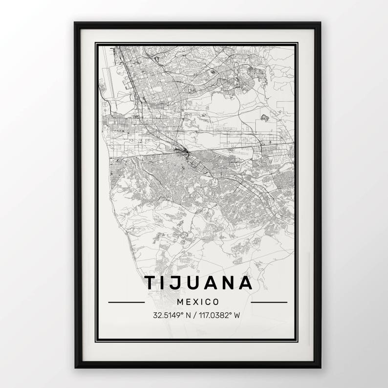 Tijuana City Map Print Modern Contemporary Poster In Sizes Etsy