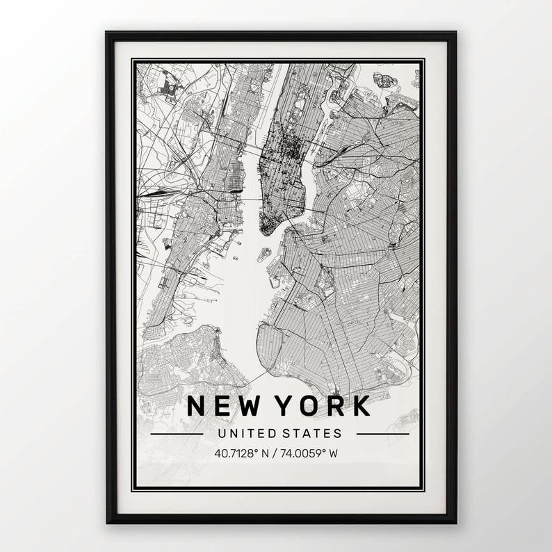 New York City Map Print Modern Contemporary Poster In Sizes Etsy