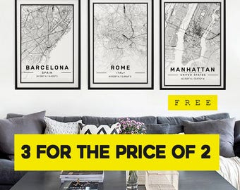 City Map Prints, 3 for the price of 2, Modern Contemporary poster in size 50x70 fit for Ikea frame All city available