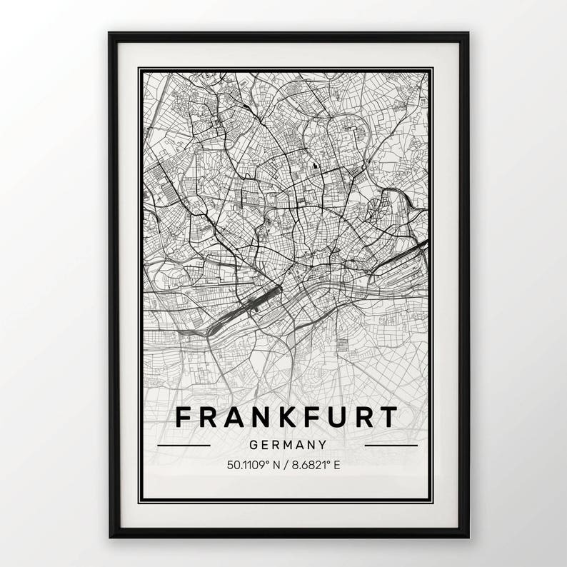 Frankfurt City Map Print Modern Contemporary Poster In Sizes Etsy