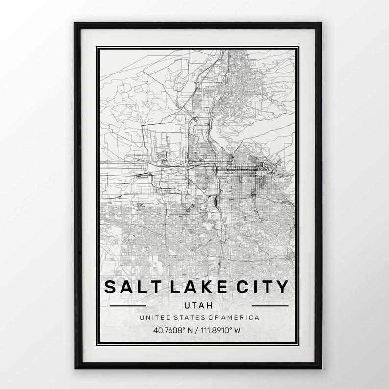 Salt Lake City Mapa Print Nowoczesny Plakat W Rozmiarach 50x70 Pasuje Do Ramy Ikea 195 X 275 Wszystkie Miasta Dostępne Londyn New York Paris