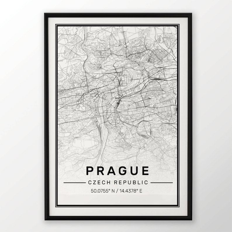 Prague City Map Print Modern Contemporary Poster In Sizes Etsy